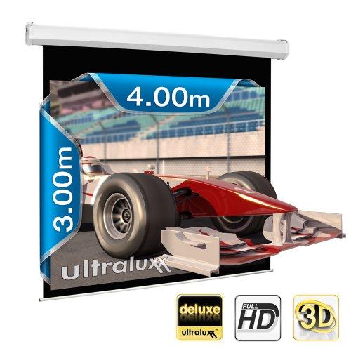 400 x 300 cm (500 cm de diagonal) Deluxe Line XXL con Motor de ULTRALUXX © - lámpara de proyección con Motor de 1:1 tamaño HDTV con mando a distancia y soporte de pared ---Ajustable, Full HD, HDTV, HD ready