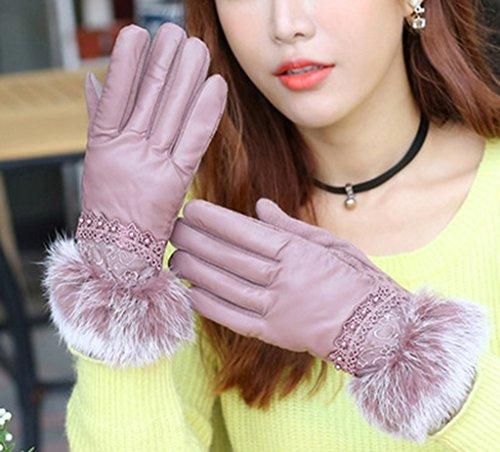 Gloves-zx Guanti dello Schermo di Tocco Ms PU Bocca Inverno più Velluto Tenere in Caldo Giro unità Touch Screen Femmina Guanti Guanti Invernali (Colore : C.)
