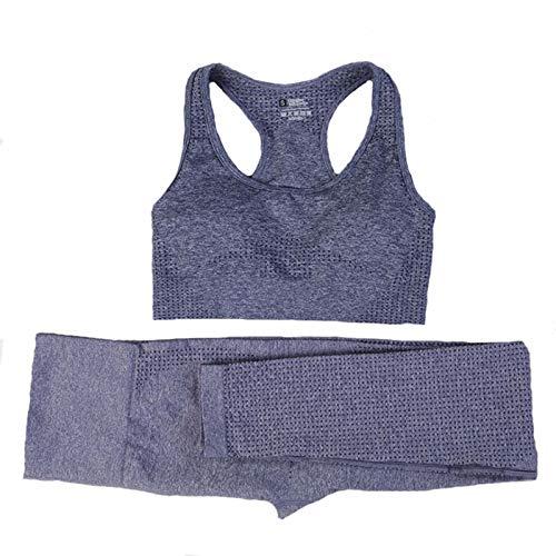 JYMEI 2 unids Mujer Juego de Yoga inconsútil Conjunto Gimnasio Deportes Trajes Gimnasio Ropa Deportiva Bras + Cintura Alta Running Leggings Entrenamiento Pantalones,Azul,L