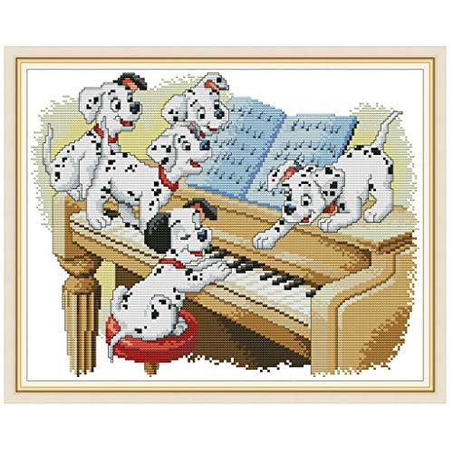 Rongzou Cross Stitch Kits Vijf Honden Spelen De Piano DIY Handgemaakte 14CT Gedrukt Borduurwerk Arts Craft Decor