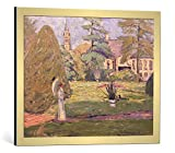 kunst für alle Bild mit Bilder-Rahmen: Theo von Brockhusen Gutshaus in Langen Im Park - dekorativer Kunstdruck, hochwertig gerahmt, 70x55 cm, Gold gebürstet
