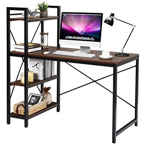 COSTWAY Computertisch mit Regal, Schreibtisch aus Holz, PC Tisch mit Metallrahmen, Bürotisch, Arbeitstisch (Walnuss)