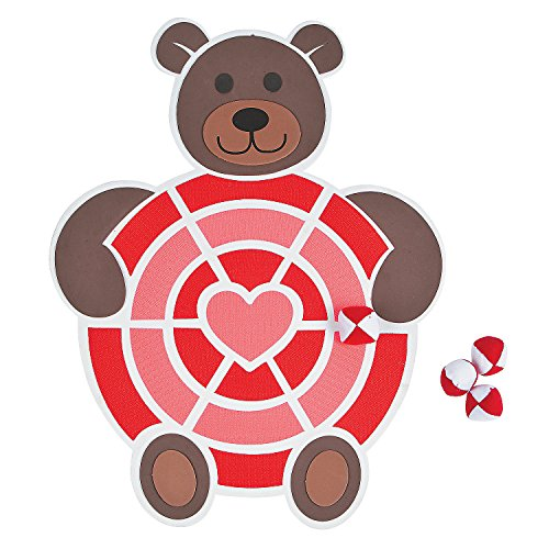 Fun Express Valentine's Day Bear Darts Game - Includes 4 Balls - Great for Kids and Parties