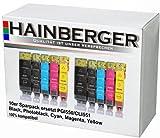 10x Hainberger XXL Patronen für Canon Pixma IP7250 MG5450 MG6350 MX725 MX925 PGI-550 CLI-551