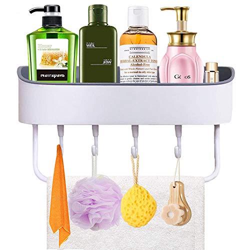 Duschkorb Ohne Bohren, Plastik Wandhängend Duschregal Selbstklebender Duschablage Bad Duschwanne mit 4 Haken und 1 Handtuchstange Rack für Badezimmer und Küche, Weiß