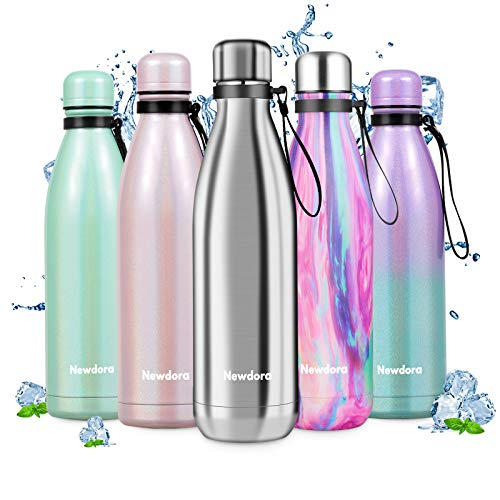 Newdora Stainless Steel Water Bottle, Double Walled Vacuum Insulated Water Bottles, Leak-proof Thermos Flask, Sports Flasks, Keeps 12 Hours Hot & 24 Hours Cold (Stainless Steel, 750ML)