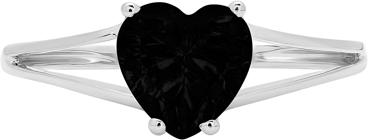 1.50 ct Brilliant Heart Cut Solitaire split shank Flawless Genuine Natural Black Onyx Gemstone Ideal 4-Prong Engagement Wedding Bridal Promise Anniversary Designer Ring Solid 14k White Gold for Women