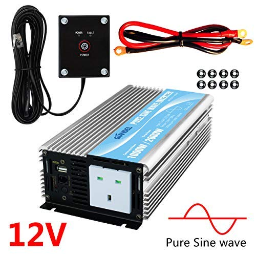 Wire remote kit and OFC battery cables,input terminals fixing Wrench ,DC5V 2 Amp USB output 2000W Pure Sine Wave inverter 12V to 230V AC with 2 AC outlets IP54 Sockets