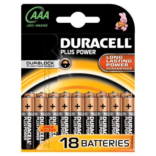 Duracell MN2400Plus Power Alkaline AAA Batterien (18Stück)