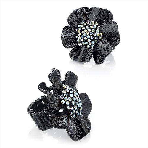 Ladies Womens Fashion esmalte negro elástica), diseño de flor con cristales de color AB