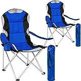 tectake Chaise de Camping Fauteuil Pliable avec Porte-Boisson et Sac de Transport - Rembourrage en Mousse -diverses Couleurs et...
