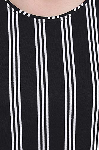 Fflirtygo Top and Capri Set for Women Cotton, Night Dress, Lounge Wear – Night Suit Set for Women, White and Black Color Stripe Printed Top and 3/4th Pyjama Set for Women Nightwear