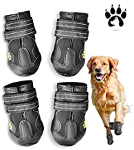 Easiestsuck Dog Boots 4 Pcs,Waterproof Dog Shoes,Outdoor Dog Snow Boots,Dog Booties with Two Layers Adjustable Tightness Reflective Velcro,Rugged & Anti-Slip Sole,Dog Shoes for Medium to Large Dogs