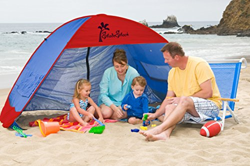 Shade Shack Beach Tent Easy Automatic Instant Pop Up Camping Sun Shelter - Blue/RED - Extra Large