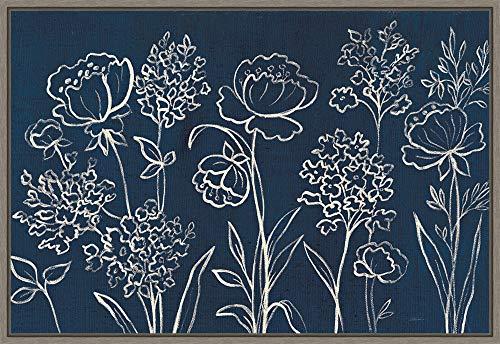 Framed Canvas Wall Art Print | Home Wall Decor Canvas Art | Indigo Floral I by Silvia Vassileva | Modern Decor | Stretched Canvas Prints 23.25 x 16.00 in.