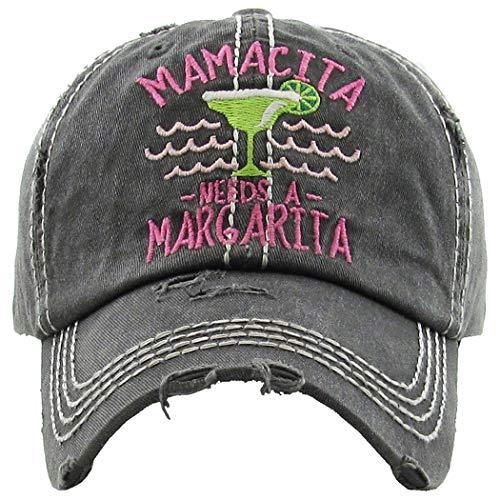 Distressed Baseball Cap Vintage Dad Hat - Mamacita Needs a Margarita (Black)