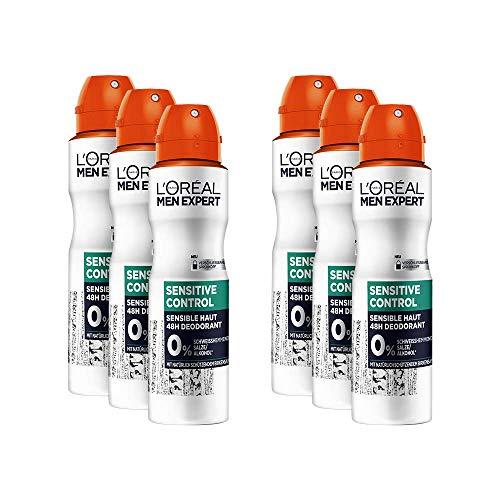 L'Oréal Men Expert Sensitive Control Deo Spray, 6er Vorratspack, Schutz für empfindliche und sensible Männerhaut, beugt Hautirritationen vor (6 x 150 ml)