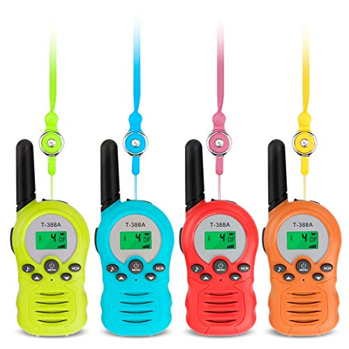 FancyWhoop Walkie Talkie Bambini 4 Pezzi 8 Canali Walkie Talkie con Torcia Elettrica e 4 Corda Anti-smarrimento Woki Toki per Ragazzi Ragazze (4pack)