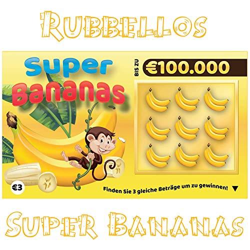 Rubbellos Scherzartikel - Fake Lotto Gewinn - Jedes Los beinhaltet einen Jackpot Lustig - Perfekt zum Pranken! Realistisch wirkender Lotto MEGA Jackpot! (1x Super Bananas)