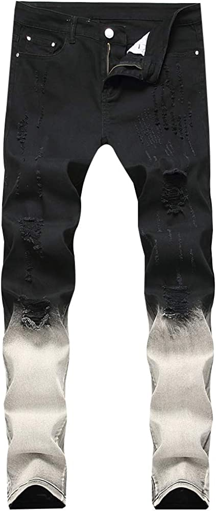 LONGBIDA Men's Slim Fit Casual Jeans Dyeing Stretch Straight Fashion Denim Pants