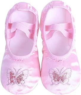 Bmeigo Children's Satin Dance Shoes - Ballet Handmade Embroidery Sequins Embellishment Split Sole Flats Dancing Slipper for Girls