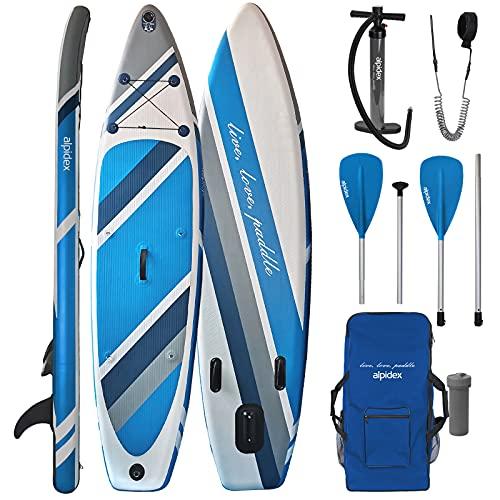 ALPIDEX Stand Up Paddle Gonfiabile 320 x 76 x 15 cm ISUP Portata Massima 130 kg Tavola SUP Leggero Stabile Set Completo, Colore:Water