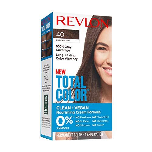 Revlon Total Color Permanent Hair Color, Clean and Vegan, 100% Gray Coverage Hair Dye, 40 Dark Brown, 3.5 oz