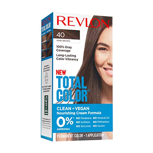 Revlon Total Color Permanent Hair Color, Clean and Vegan, 100% Gray Coverage Hair Dye, 40 Dark Brown, 3.5 oz