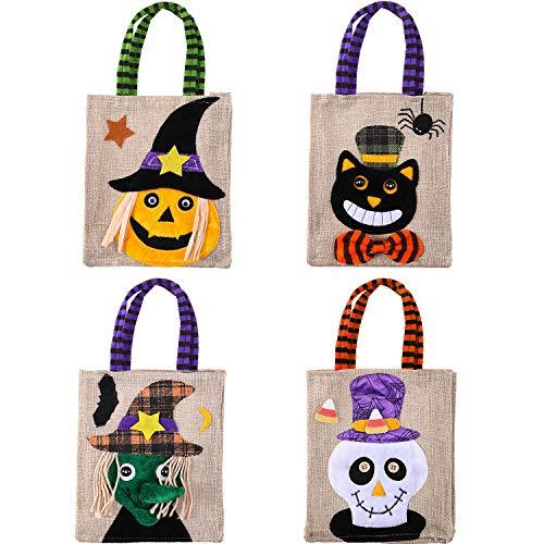 4 Stück Halloween Süßigkeit Taschen Trick or Treat Süßigkeit Taschen Tote Karikatur Kürbistasche für Kinder Halloween Themenorientierte Party Geschenk Bevorzugung, 4 Arten