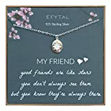 EFYTAL Best Friend Gifts, 925 Sterling Silver Star Friendship Necklace, Birthday Jewelry Gift Necklaces for BFF, Bridesmaid Gift