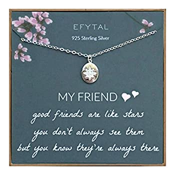 EFYTAL Best Friend Gifts 925 Sterling Silver Star Friendship Necklace Birthday Jewelry Gift Necklaces for BFF Bridesmaid Gift