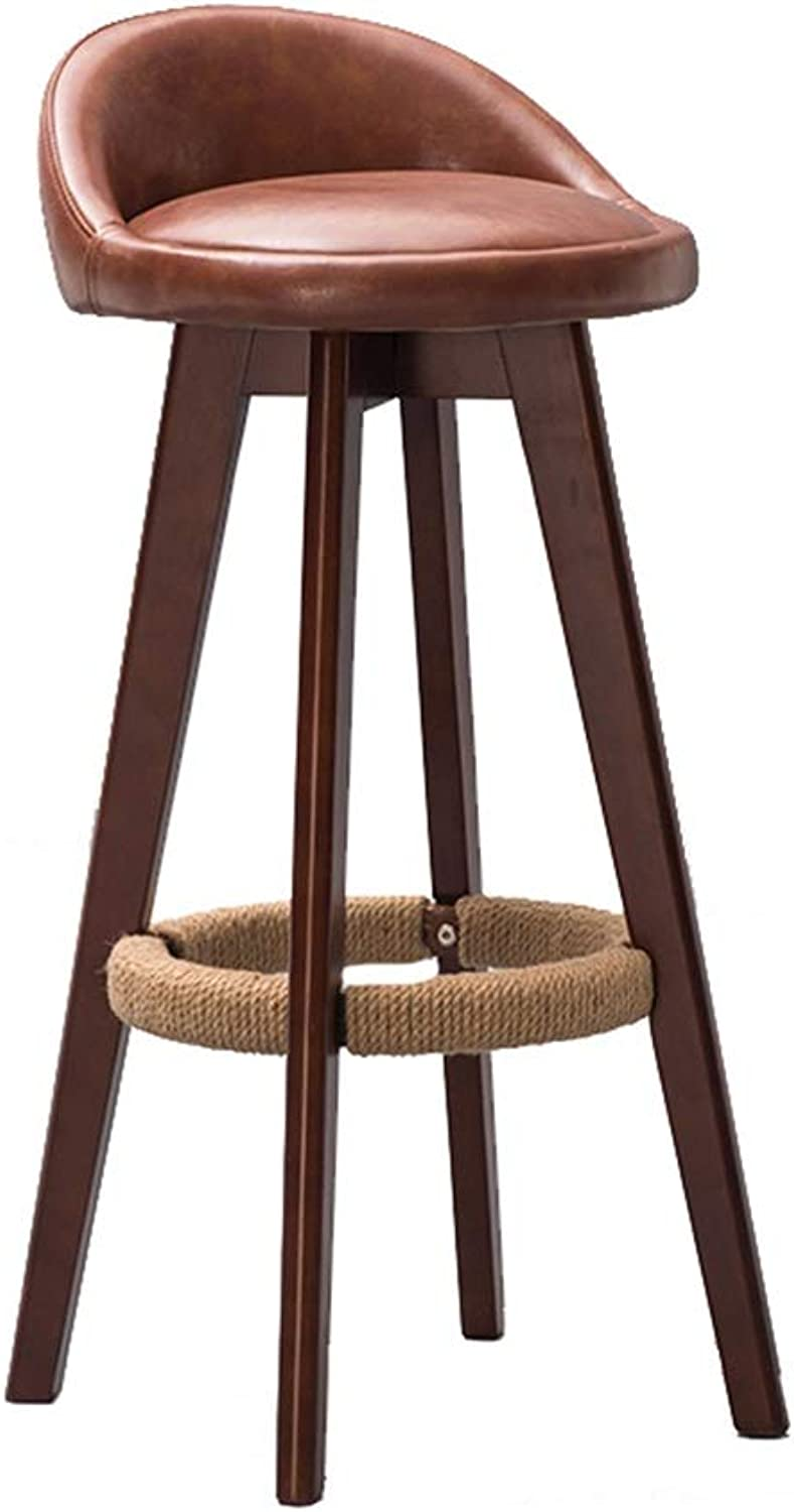 Wooden Round Brown Barstool redatable 360° High Stool Breakfast Dining Stool for Kitchen Home Bar Counter Commercial Chair with Light Brown PU Cushion Concise Style - Height 71.5cm