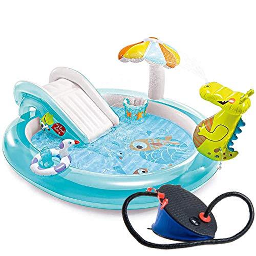WYFDM Verdickte Schwimmbad mit Rutsche Pool aufblasbares Fischermeer Ball Pool Baby-Planschbecken mit Fußpumpe