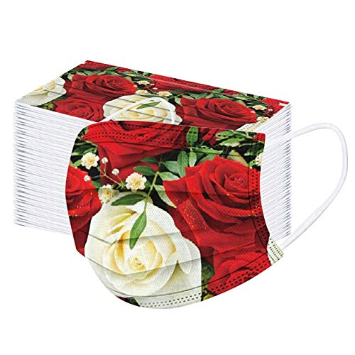 100 Pcs Floral Print Rose Disposable_Face_Mask for Women Adults Patterned Face_Mask with Designs Red Rose Flower Print Holiday 3ply Breathable Dustproof Paper_Mask with Nose Wire Gift for Women A