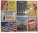 Chapas Decorativas Retro [ Carteles Metálicos Variados 20 x 30 ] Set de 7 Placas para Decoración...
