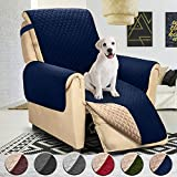 Reversible Large Recliner Protector, Seat Width to 30 Inch, Furniture Slipcover, 2 Inch Strap, Reclining Chair Slip Cover Throw for Dogs, Recliner(Recliner Oversized:Navy/Brown)