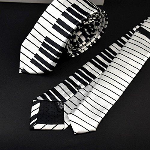 Xuniu Hombres Piano Teclado Corbata Corbata clásico Delgado Flaco música Corbata Blanco y Negro