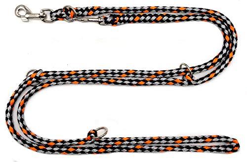 elropet Hundeleine Doppelleine 2,80m 4fach verstellbar schwarz-grau-orange