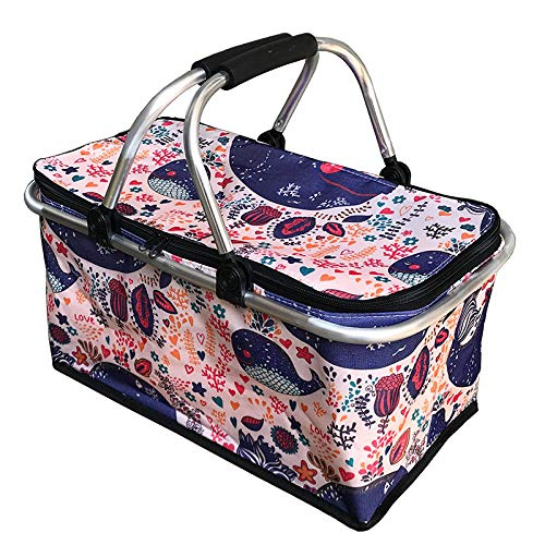 Hamper Storage Basket,Carry-Out Basket Insulated Picnic Outdoor Dining Box Folding-C,Picnic Basket