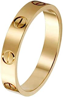 Women Stainless Steel Couple Ring Promise Engagement Wedding Great Rings for Engagement Anniversary Promise(Gold, 7)