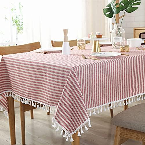 Mantel de Rayas Simple de algodón y Lino con borlas, Mantel para el hogar, Dormitorio, Mesa de Centro, decoración para Sala de Estar, D140x240cm