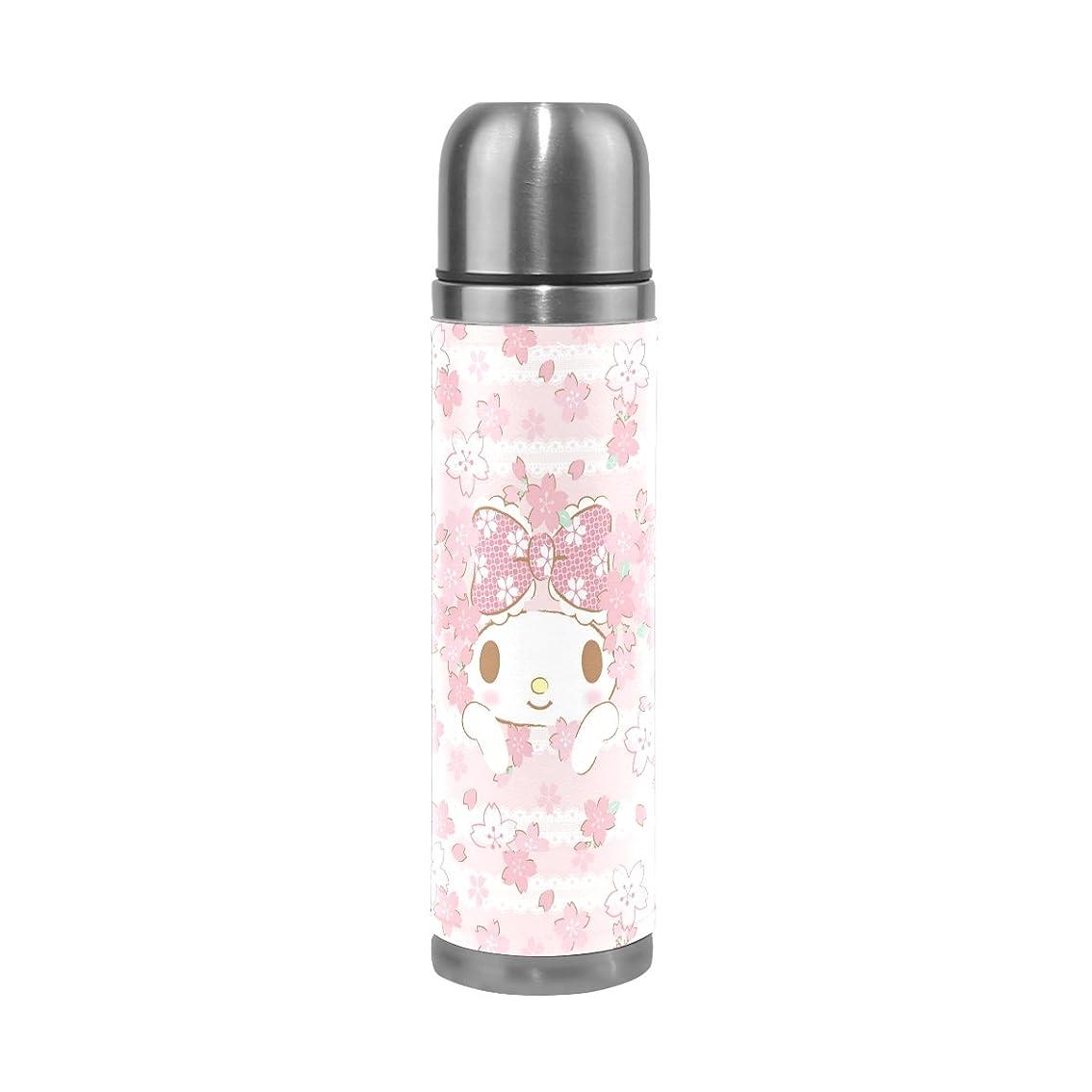 才能ラケットテーマAyuStyle 水筒 500ml 真空断熱 マイメロディ ウサギ メロディちゃん 直飲み 魔法瓶 保温 ステンレスボトル かわいい PU レザー 個性的 プリント おしゃれ 子供 女の子 ピンク