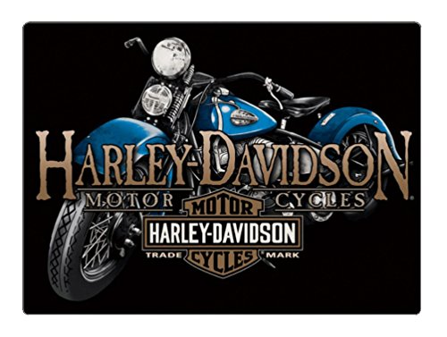 Harley-Davidson Old Blue Motorcycle Embossed Tin Sign, 17 x 12.5 inches 2011331