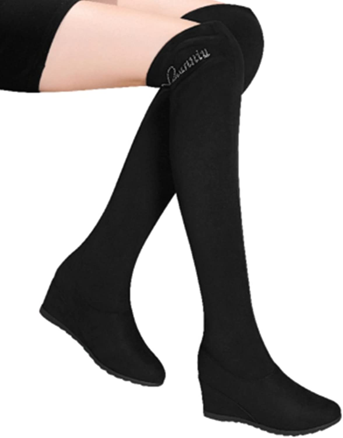 WENDYWU Women Winter Boots Lady Suede Knee Boots