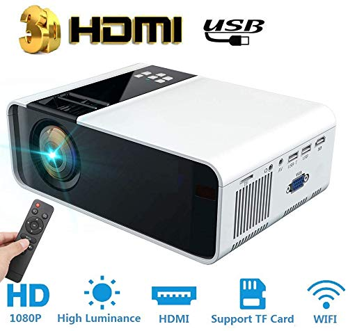 Draagbare Bluetooth-projector,Draadloze WiFi-theaterprojector voor laptop,dvd-speler,tv-stickcomputer,LED-projector Ondersteuning Full HD 1080p HDMI USB,Ideaal voor Home Entertainment Video Gaming