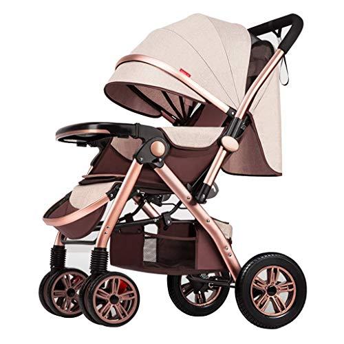 Cochecito de bebé de alta vista, pulsador de dos vías, rueda trasera de caucho absorbente para golpes, soporte de respaldo duro para evitar que el bebé se contraiga, cinturón de seguridad de cinco pun