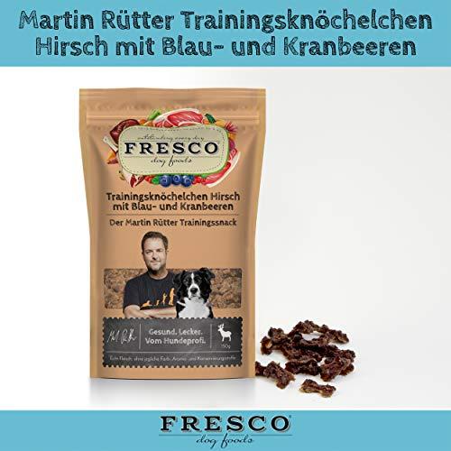 Fresco Dog Martin Rütter Trainingsknöchelchen Hirsch mit Blaubeeren & Kranbeeren 10x150g