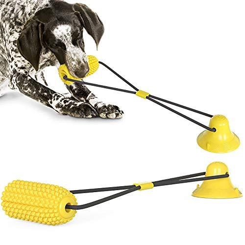 WANXIANG Mejora el Juguete para Perros con Ventosa Palillo de molares de maíz Resistente a Las mordeduras Juguetes para Masticar Perros con Correa Juguetes interactivos para Perros