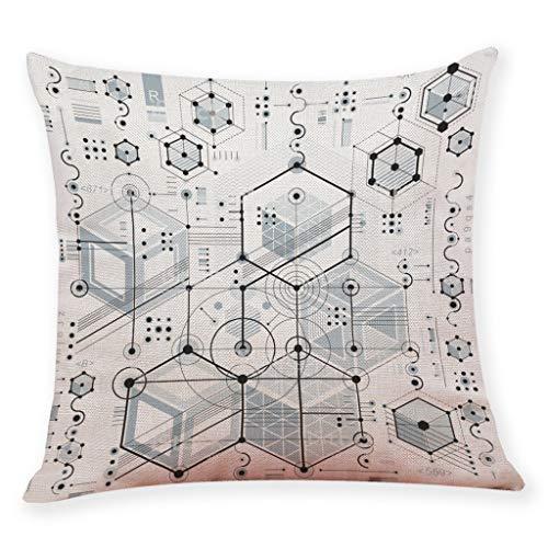 Mamum Taie d'oreiller en Lin, Housse de Coussin imprimé géométrique Taille Housse de Coussin canapé décor à la Maison (A)