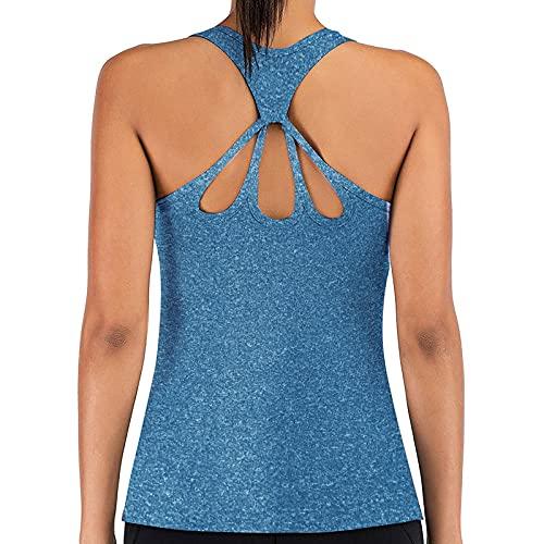 Padaleks Camiseta de entrenamiento sin mangas para mujer, sin espalda, para verano, espalda cruzada, deportes, yoga, ropa deportiva
